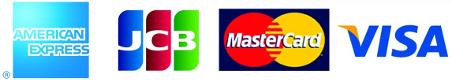 VISA、MasterCard、JCB、American Expressのマークがついているクレジットカードの利用が可能です。